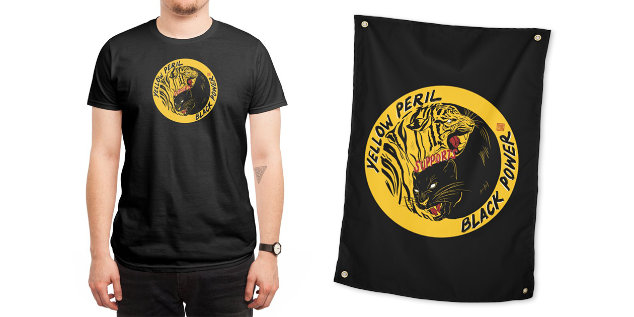 """""""Yellow Peril Supports Black Power"""" Men's Regular T-Shirt and Tapestry by bonztex"""