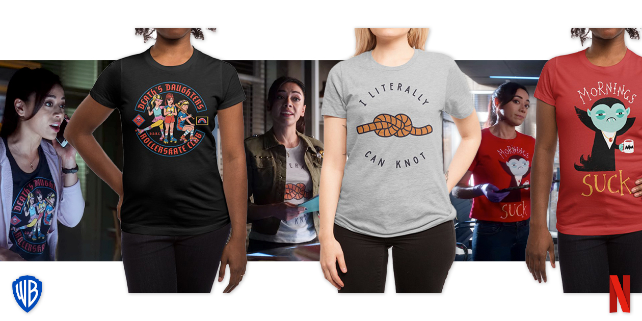 """Featured designs: """"D.D.R.C."""" by Steven Rhodes, """"Can Knot"""" by Haasbroek, and """"Mornings Suck"""" by DinoMike"""