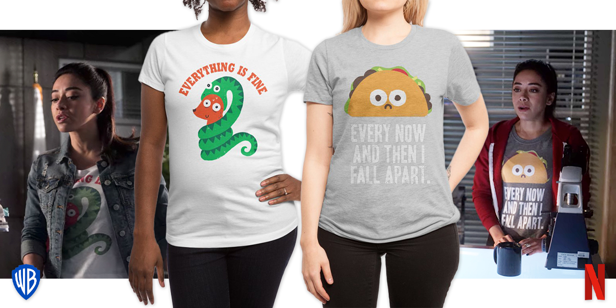 """Featured designs: """"Everything is Fine"""" by DinoMike and """"Every Now and Then I Fall Apart"""" by David Olenick"""