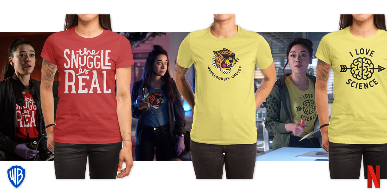 """Featured designs: """"The Snuggle is Real"""" by Cabin Supply Co, """"Dangerous Cheese"""" by csweiler, and """"I Love Science"""" by steppeua"""