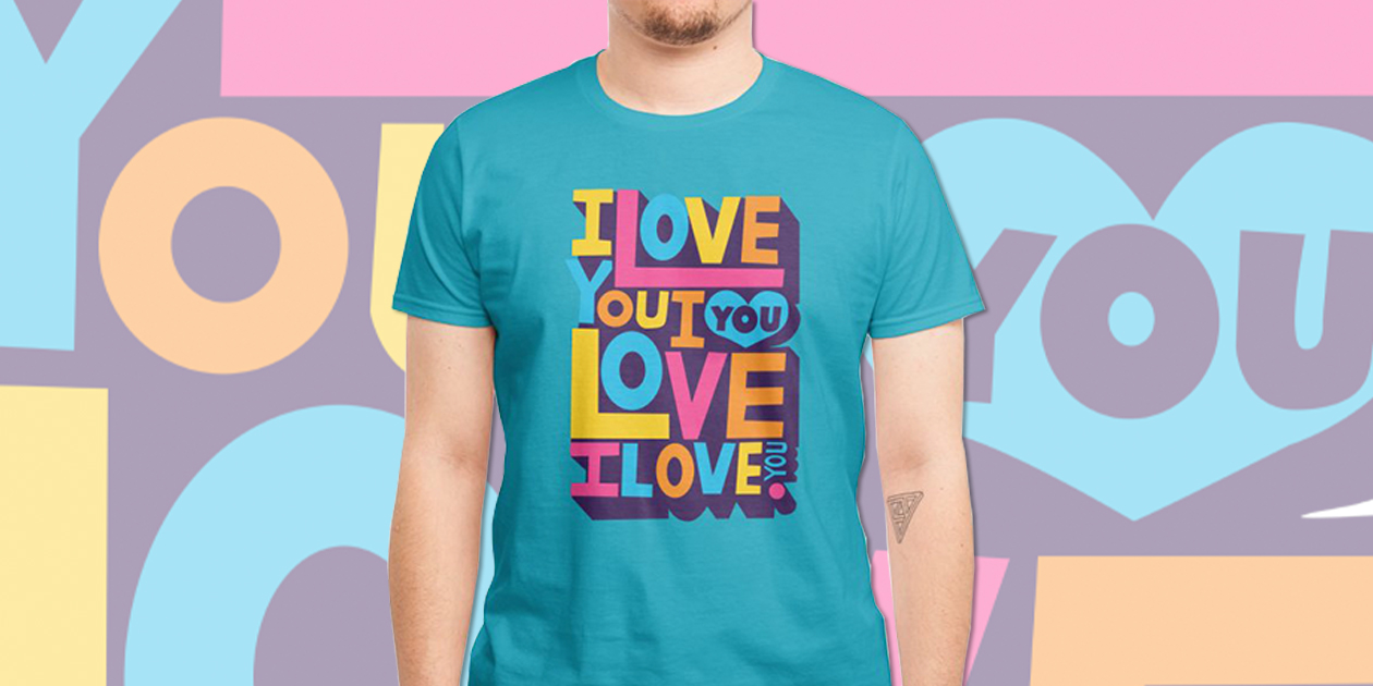 """""""I Love You"""" Men's Regular T-Shirt by Bears Wear Clothes benefits the National Center for Transgender Equality, the It Gets Better Project, The Trevor Project, and Trans Lifeline."""