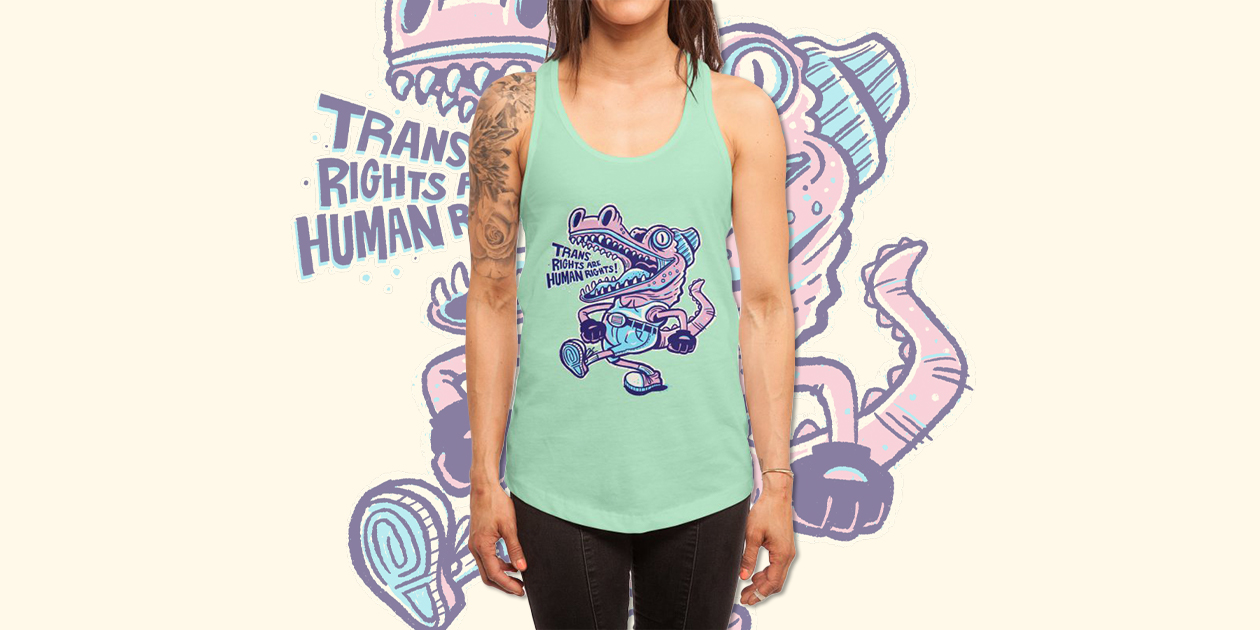 """""""Trans Rights are Human Rights Crocogator"""" Women's Racerback Tank by Alan Defibaugh benefits the National Center for Transgender Equality."""