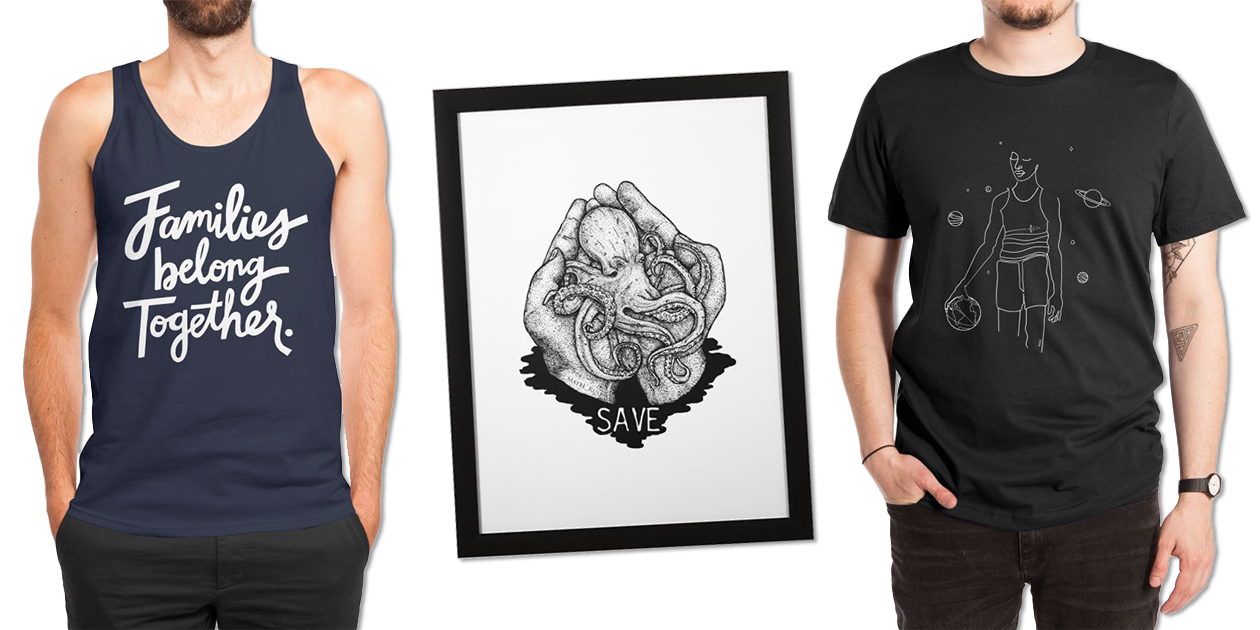 """""""Families Belong Together"""" Men's Regular Tank by 5EyeStudio, """"Save the World"""" Framed Fine Art Print by maybe_rus, and """"All Star Game"""" Men's Extra-Soft T-Shirt by ninhol"""