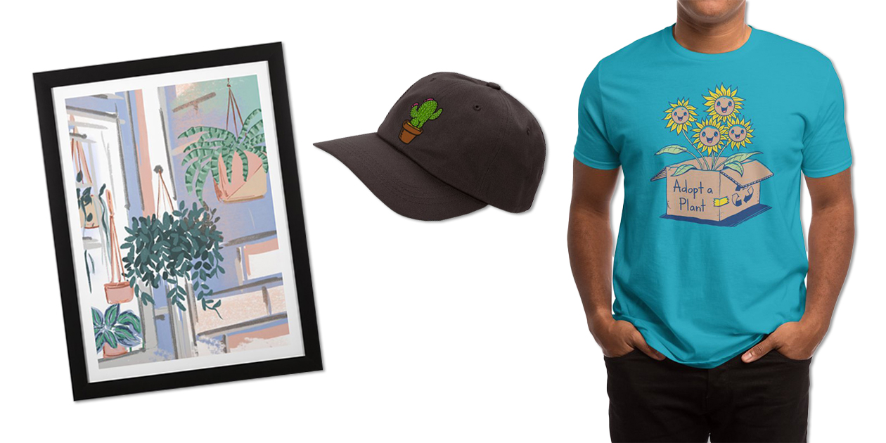 """""""Plant Lover"""" Framed Fine Art Print by Muktalata_Barua, """"Cactus Butt"""" Dad Hat by Brian Cook, and """"Adopt a Plant"""" Men's Regular T-Shirt by Vincent Trinidad"""