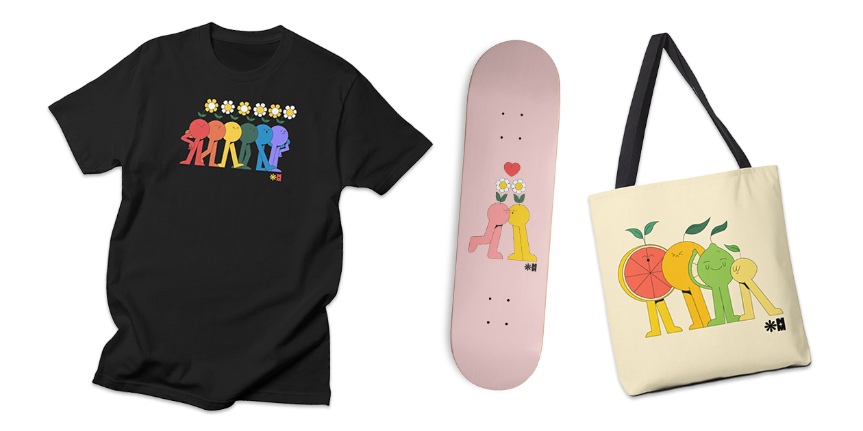 """Pride Friends for Charity"" Men's Regular T-Shirt, ""Kissy"" Skateboard, and ""Citrus Friends"" Tote by Nataly Menjivar"
