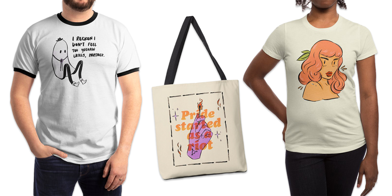 """""""Yeehaw"""" Men's Ringer T-Shirt, """"Pride Started As A Riot"""" Tote, and """"Peachy Babe"""" Women's Fitted T-Shirt by Sophie McTear"""