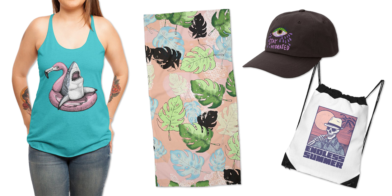 """""""Ahhh. Time to Relax."""" Women's Racerback Tank by HabbyArt, """"Tropical Jungle 302 C"""" Beach Towel by Muktalata Barua, """"Stay Hydrated"""" Dad Hat by Char Bataille, and """"Endless Summer"""" Drawstring Bag by Victor Calahan"""