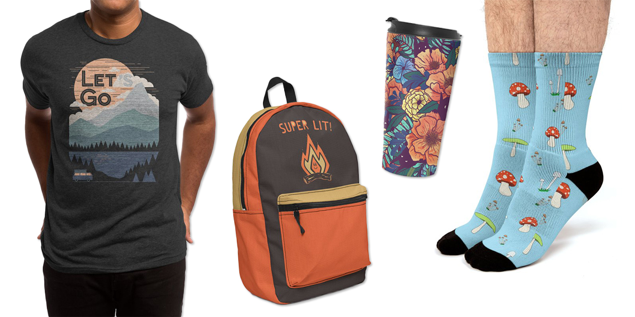 """""""Let's Go"""" Men's Triblend T-Shirt by NDTank and ThePaperCrane, """"Super L/T"""" Backpack by dylmor, """"Wild Flowers"""" Travel Mug by littleclyde, and """"Mushroom for Improvement"""" Socks by TheStudioCat"""