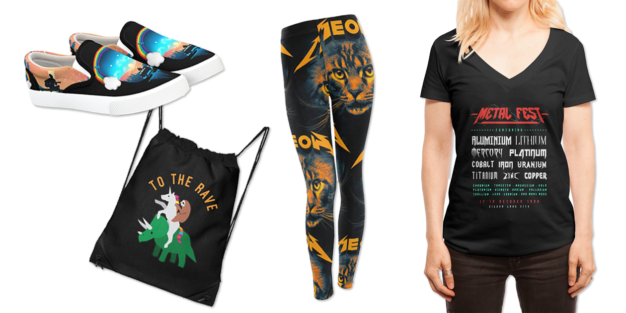 """""""My Secret Listener"""" Bucketfeet Shoes by alfbocreative, """"To the Rave"""" Drawstring Bag by jasonapdua, """"Meow"""" Women's Leggings by nicebleed, and """"Metal Fest"""" Women's Deep V-Neck T-Shirt by Gamma-Ray"""