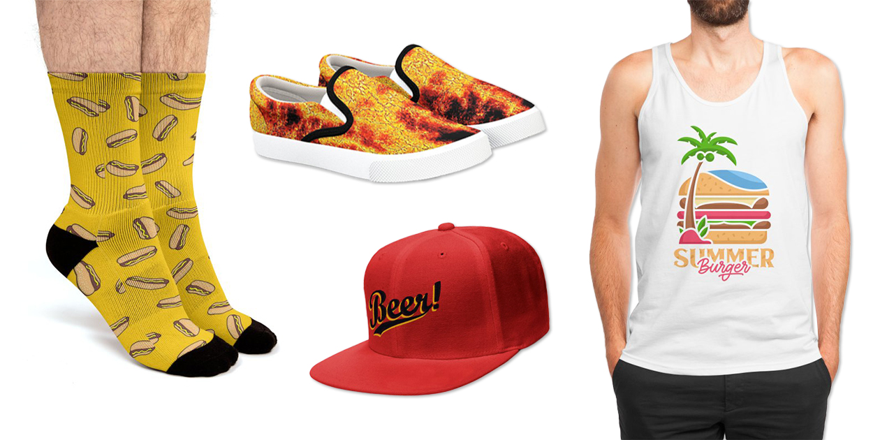 """""""Hotdog"""" Socks by sifis, """"Abstract Flames"""" Bucketfeet Shoes by GittaG74, """"Beer!"""" Snapback Cap by arzie13, and """"Summer Burger"""" Men's Regular Tank by Vektorkita"""