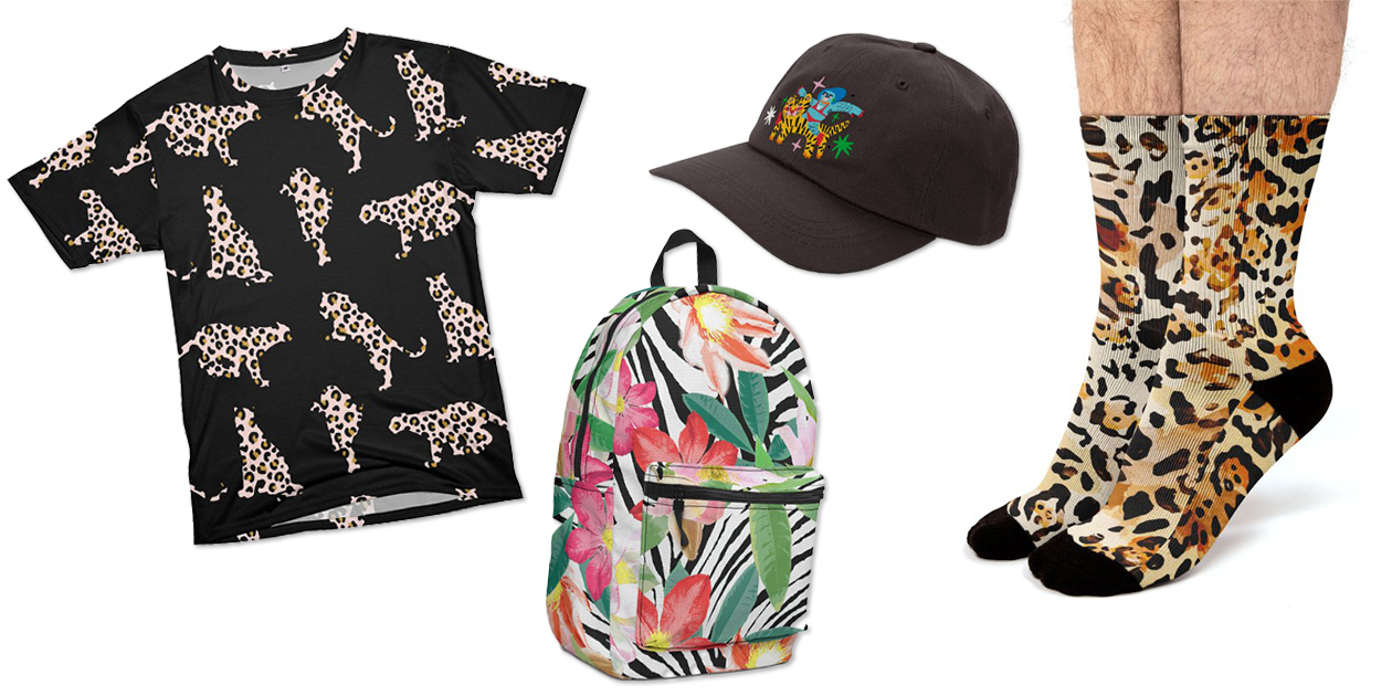 """""""Blush and Gold Leopard Silhouettes"""" Men's Cut & Sew T-Shirt by carolinadiazb, """"Zebra Station"""" Backpack by brownedog, """"All Gender: Tiger Hat"""" Dad Hat by Char Bataille, and """"Leopard Print 02"""" Socks by mmartabc"""