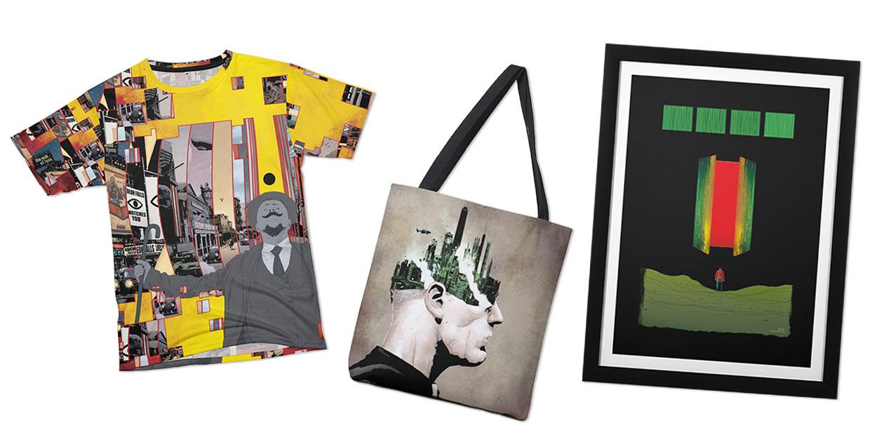 """""""GideonFalls#11 - Pg.8-9"""" Men's Cut & Sew T-Shirt, """"GideonFallsVo1.5_cover"""" Tote Bag, and """"GideonFalls#5 Pg. 19"""" Framed Fine Art Print"""