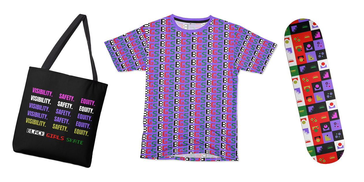 """""""Tri Color VSE Design"""" Tote, """"BGS Pattern Purple"""" Cut & Sew Unisex T-Shirt, and """"BGS Blocked - By Columbia Student"""" Skateboard from Black Girls Skate"""