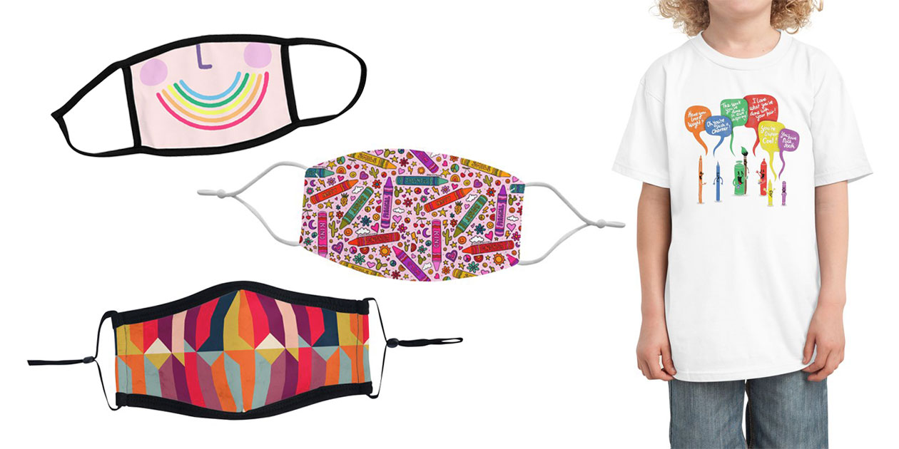 """""""Rainbow Smile Mask"""" Youth Face Mask by pinkcheeks, """"Crayon Print"""" Regular Face Mask by doodlebymeg, """"Geometric Icelandic Colors"""" Ultra Premium Face Mask by Tobe Fonseca, and """"Complimentary Colors"""" Kids T-Shirt by MadeWithAwesome"""