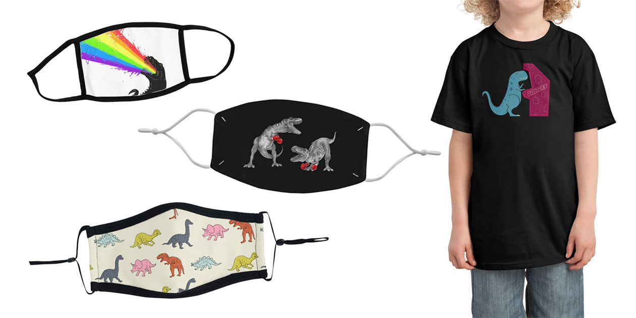 """""""Technicolour Rex"""" Youth Face Mask by electric_method, """"T-Rex Boxing"""" Regular Face Mask by Mike Marshall, """"Toy Dinosaur Pattern"""" Ultra Premium Face Mask by cecececececelia, and """"Irony"""" Kids T-Shirt by TeoZ"""