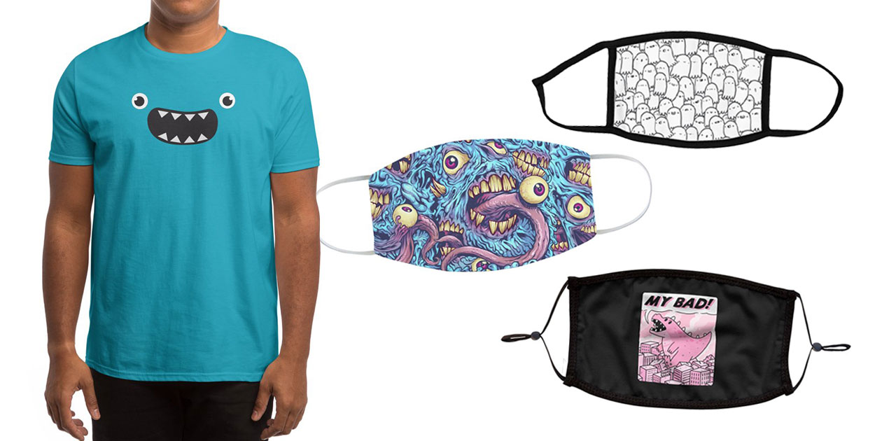 """OM NOM NOM!"" Men's Regular T-Shirt by badbugs_art, ""Spooks"" Youth Face Mask by lxromero, ""Eyeballs and Teeth"" Regular Face Mask by flylanddesigns, and ""My Bad!"" Premium Face Mask by timecowboy"