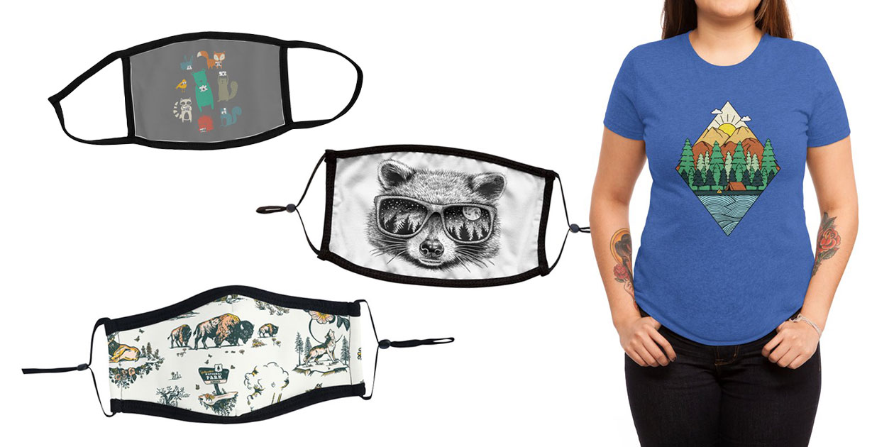 """""""Wildlife Observation"""" Youth Face Mask by maudieandma, """"Moonglasses"""" Premium Face Mask by HabbyArt, """"Yellowstone National Park Travel Pattern Design"""" Ultra Premium Face Mask by WGshop, and """"Nature"""" Women's Triblend T-Shirt by Coffee_man"""