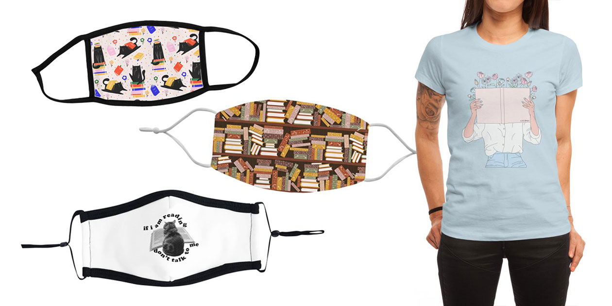 """""""Cats and Books and Flowers Pattern"""" Youth Face Mask by Gabi_Toma, """"Bookshelf Pattern Dark"""" Regular Face Mask by space-kitten, """"Don't Talk to Me Reading Cat, Wavy"""" by jordanshiveley and ReadingGlasses, and """"Read All About It"""" Women's Fitted T-Shirt by Labelsart"""