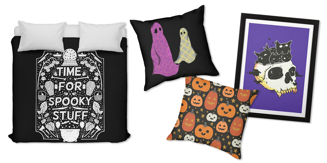 """""""Time for Spooky Stuff (WHITE)"""" Duvet by rupertbeard, """"Sheets"""" Throw Pillow by PlasticFangs831, """"Halloween Pumpkin Pattern"""" Throw Pillow by cecececececelia, and """"Skull Full of Black Cat Kittens"""" Framed Fine Art Print by cellsdividing"""