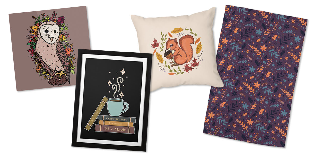 """""""Forest Owl"""" Mounted Aluminum Print by ramarama, """"Cozy Magic"""" Framed Fine Art Print by Njmoxon, """"Feeling Squirrely"""" Throw Pillow by mitalim, and """"Leaves Pattern - Season Cute Floral"""" Rug by Mituturi"""