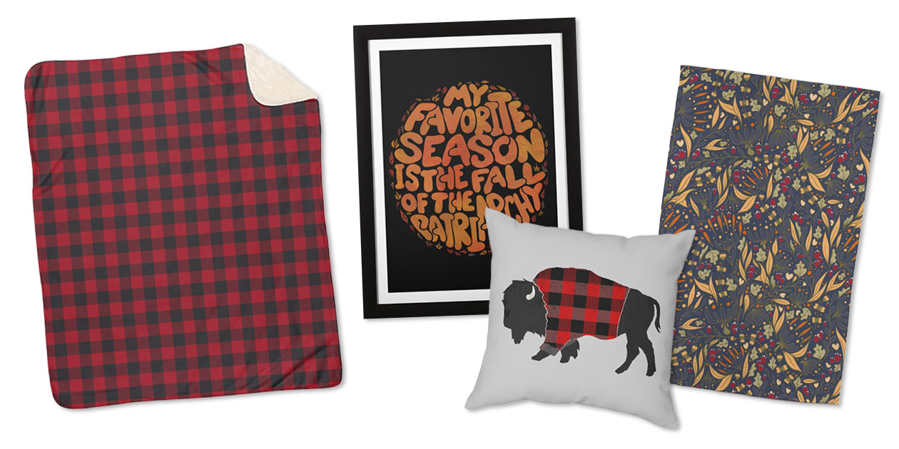 """""""Red Lumberjack Plaid"""" Sherpa Blanket by Irene_, """"My Favorite Season is the Fall of the Patriarchy"""" Framed Fine Art Print by Lacychenault, """"Buffalo Wearing Buffalo Plaid"""" Throw Pillow by birchandbark, and """"Melting Pot"""" Rug by Grisciel"""