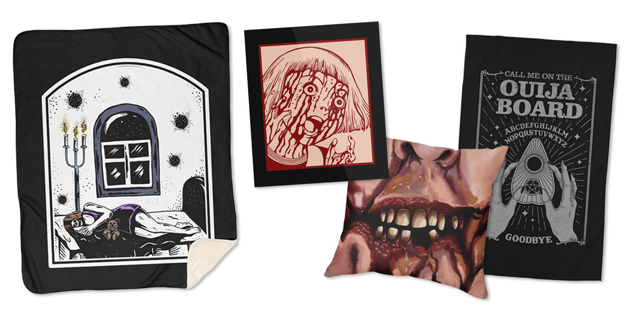 """""""Haunted House"""" Sherpa Blanket by monoorismstudio, """"Bloodbath, Bloodlust"""" Mounted Aluminum Print by bvrdto, """"Spooky Zombie Mouth"""" Throw Pillow by 2intoA, and """"Ouija Board"""" Rug by thiagocorrea"""