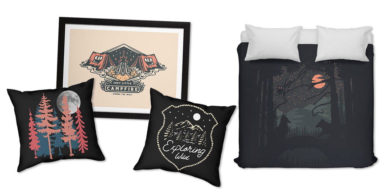 """""""Exploring Wild"""" Throw Pillow by Alexgunawan, """"Cozy Little Campfire"""" Framed Fine Art Print by AmongTheWild, """"Full Moon"""" Throw Pillow by Pallkris, and """"Wild Date"""" Duvet by Oneredfox"""